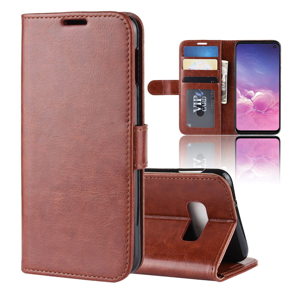 5.8 Inch Case For Samsung Galaxy S10e G970F Cover Wallet Card Stent Book Style Faux Leather Flip Black SM G970 G9700 S10-E S10 E