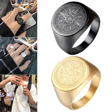 Men Stainless Steel Ring Stars Vintage Round Compass Signet Ring Jewelry