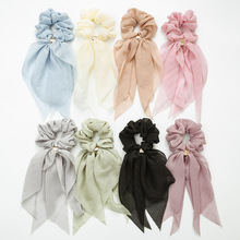 Women and Girls Assorted Color Elegant Scrunchies Hairbands Double Layer Luxury Hair Loop Bunny Ear Bow Chiffon Scarf Hair Ties