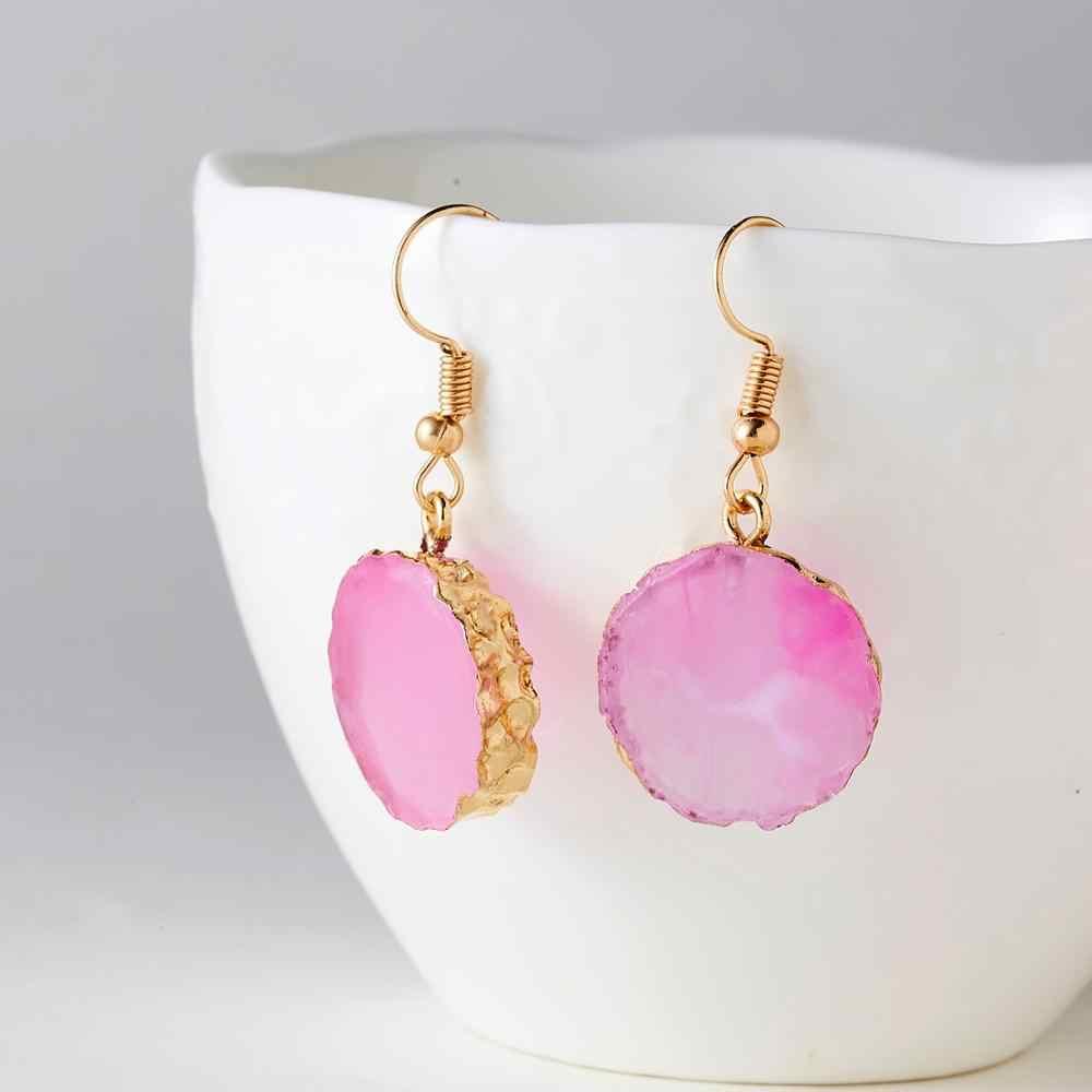 Nowe geometryczne okrągłe imitacja kamień naturalny kolczyki z żywicy dla kobiet moda dynda przezroczysty bursztynowy kolczyki biżuteria prezenty