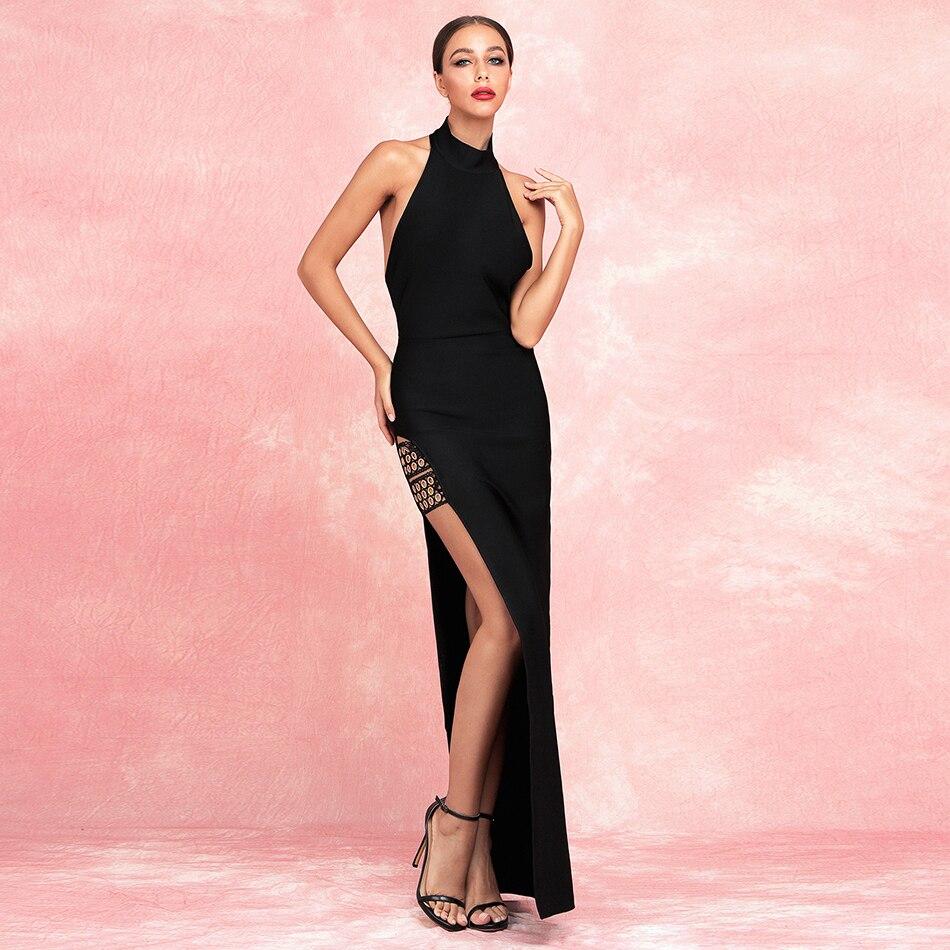 Noir sans manches col roulé côté Spliitng Maxi Robe femmes Robe Femme longue soirée robes de nuit Vestidos