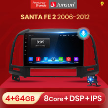 Junsun V1 AI Control de voz Android 10 DSP Radio de coche reproductor Multimedia para Hyundai Santa Fe 2 2006 2007 2008 2009 2010 2011 2012 navegación 2 din sin dvd