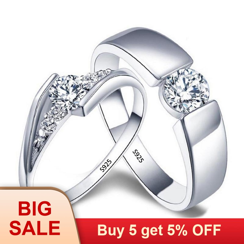 Wedding Rings Lover Original 925 Sterling Silver Couple Rings Engagement Party Jewelry Wedding Bands