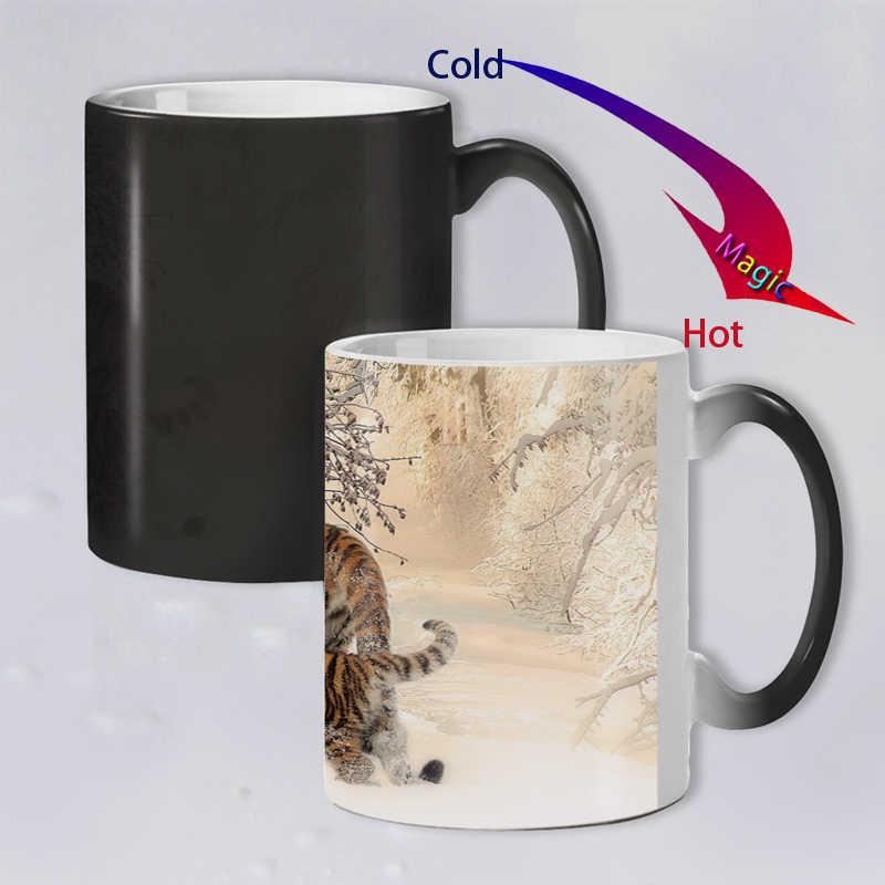 Funny nowość Animal Tiger ceramiczny kubek na kawę zmieniający kolor wrażliwy na ciepło magiczna herbata kubek kubki super prezent