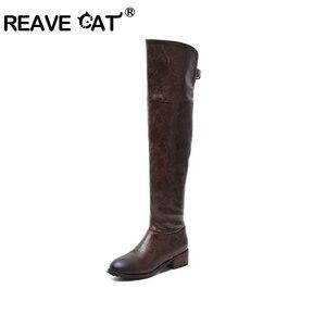 Image 1 - לעזוב כל חתול חדש נשים עור מגפיים מעל הברך מגפי נמוך עקבים Slim ארוך מגפיים שחור חום גברת חורף חם נעליים באיכות גבוהה