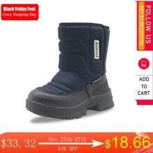 Apakowa 부츠 키즈 겨울 중반 후크 & 루프 스노우 부츠 방수 따뜻한 울 라이닝 신발 30도 산악 하이킹