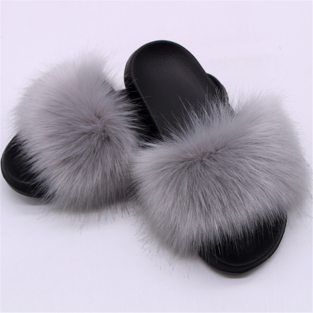 Summer Woman Slippers Faux Fox Fur Slides Cute Fluffy Furry Indoor Flip Flops Casual Luxury Plush Fur Home Slippers Shoes TX-22