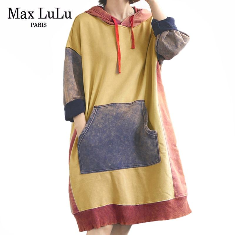 Max LuLu New Winter Korean Fashion Style Dresses Ladies Punk Clothes Womens Casual Loose Elegant Dress Hooded Vestidos Plus Size
