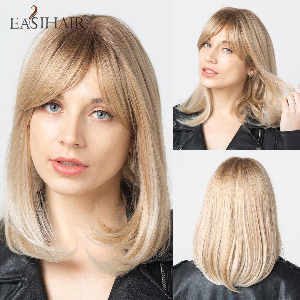 EASIHAIR sarışın Ombre peruk sentetik saç peruk kadınlar için doğal Bob peruk patlama ile isıya dayanıklı Cosplay peruk sevimli