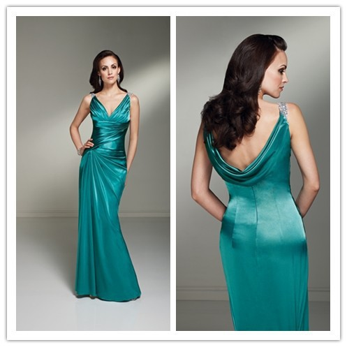 2019 New Arrival Mother Of The Bride Dresses Green Sheath Floor Length Satin Groom Wedding Occasion Formal Dresses For Women