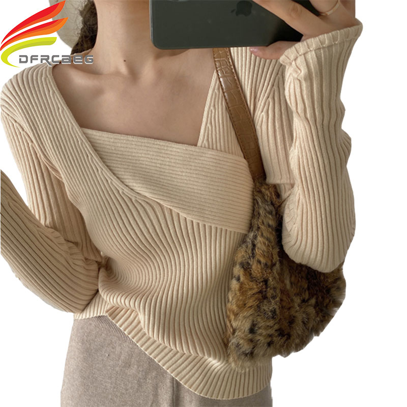 2020 New Sexy Cross V Neck Sweater Women's Pullover Casual Slim Ladies Sweaters Elastic Cotton Long Sleeve Knitted Sweater Femme