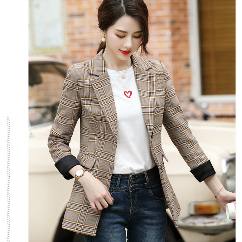 Temperament women's jacket high quality 2019 new autumn and winter large size plaid blazer Professional office women's suit