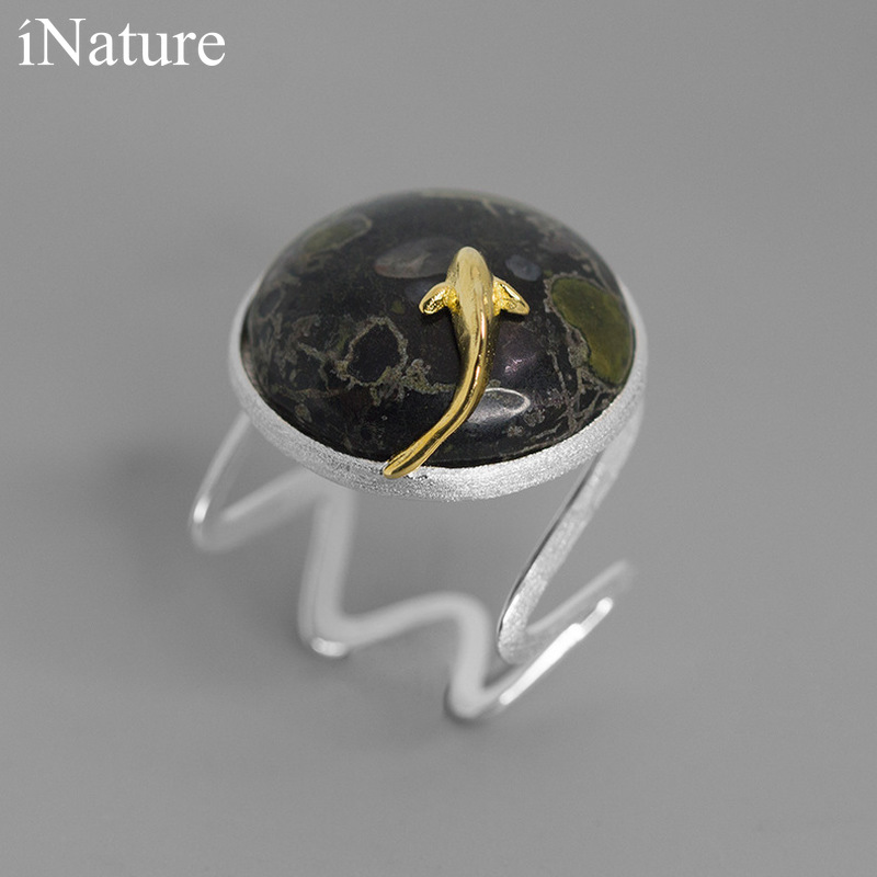 INATURE Natural Jade Lucky Koi Fish Rings for Women 925 Sterling Silver Wedding Engagement Ring 1