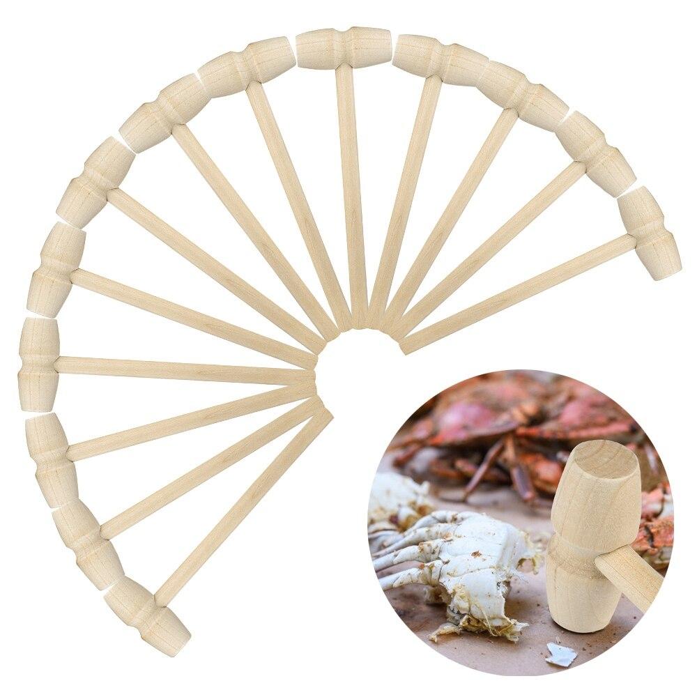 10/20 pçs mini martelo de madeira maletes para marisco lagosta crackers crab bolas do bebê brinquedos jóias de couro artesanato diy suprimentos