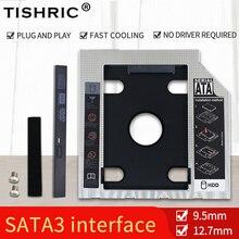 TISHRIC Универсальный алюминиевый корпус для 2-го жесткого диска Caddy 9,5 12,7 мм SATA 3,0 коробка для жесткого диска Optibay 2,5 SSD для ноутбука, для ноутбука,...