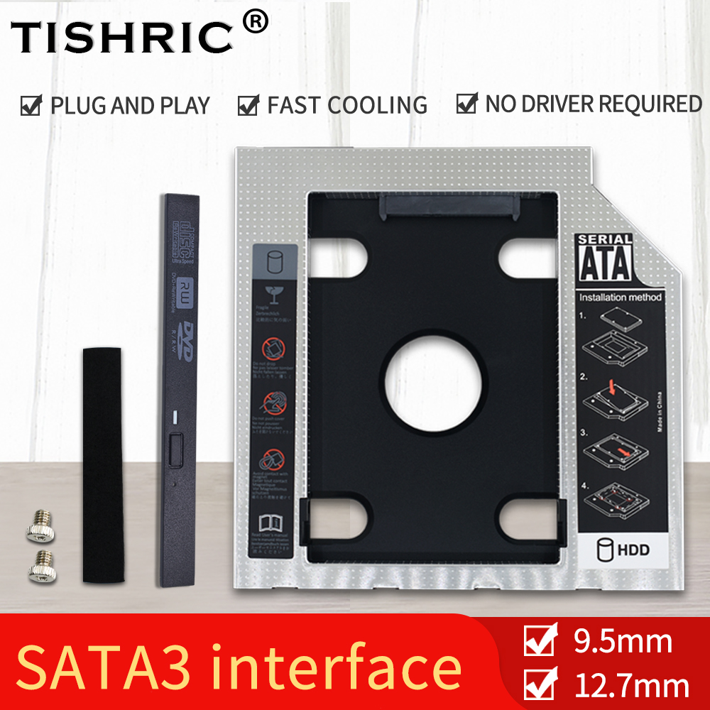 TISHRIC Universal Aluminum 2nd HDD Caddy 9.5 12.7mm SATA 3.0 Hard Disk Drive Box Optibay Enclosure 2.5 SSD For Laptop DVD-ROM
