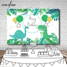 Sensfun Cartoon Dinosaur Party Backdrop Children Birthday Party Boys Backgrounds For Photo Studio Custom Vinyl Polyester