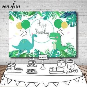 Image 1 - Sensfun Cartoon Dinosaur Party Backdrop Children Birthday Party Boys Backgrounds For Photo Studio Custom Vinyl Polyester