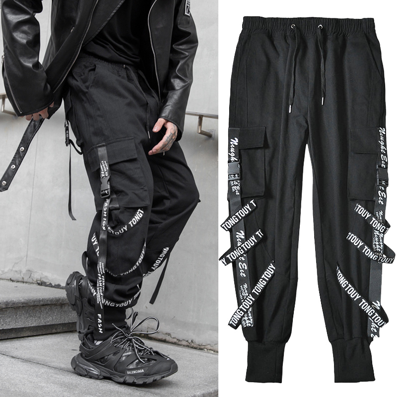 Streetwear Joggers Men Black Casual Ribbons Pockets Harem Men Pants Hip Hop Anke-length Cotton Cargo Trousers For Men