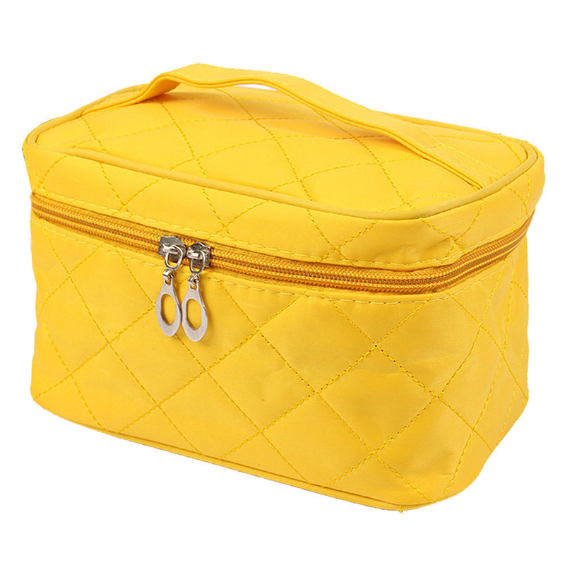 ABZC-Portable Waterproof Multifunction Cosmetic Bag Portable Thicker Diamond Lattice Makeup Bag Case Yellow S