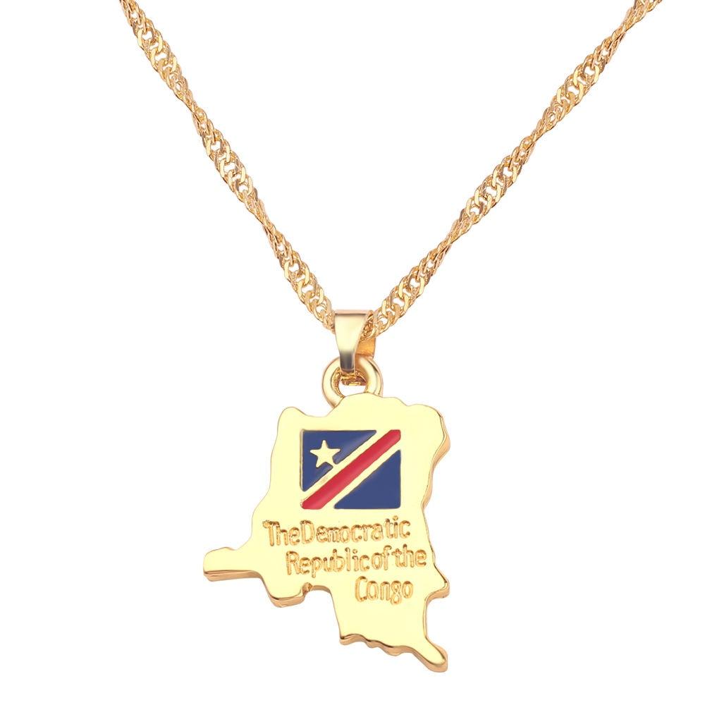 Новая карта страны, флаг, ожерелье, Африка, Гана, Liberia Undersea, Jamaica, Южная Африка, Congo, Honduras, подвеска, цепь, мужские ювелирные изделия - Окраска металла: Congo