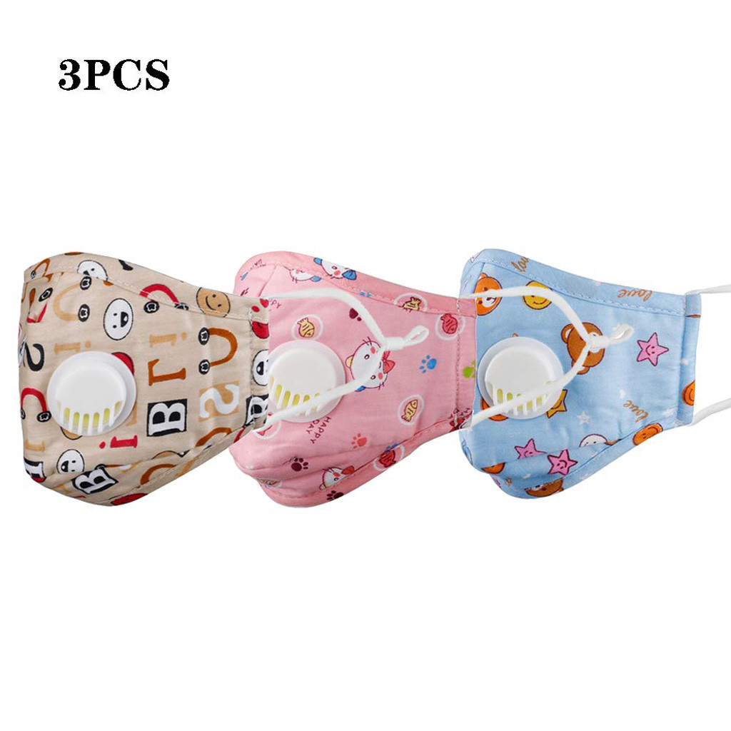 3PCS PM2.5 Mouth Mask For Kids Cute Cartoon Printed Face Mask Pollution Anti-Dust Children Washable Face Masks Cover Respirator