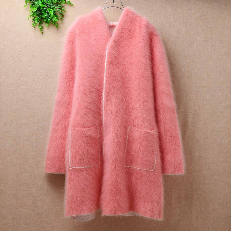 pink sweater women  pull femme loose thick warm winter mink cashmere hooded angora fur coat jacket cardigan mantle