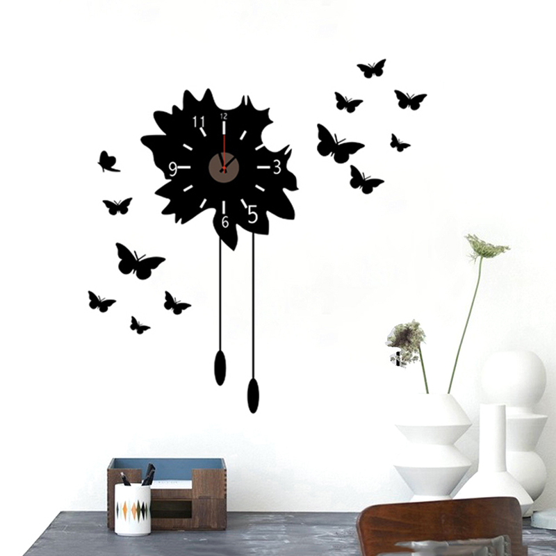 New Removable Black Wall Clock With 12 Butterflies Background Modern Design Wall Sticker For Home Decor Wall Decorative Clocks