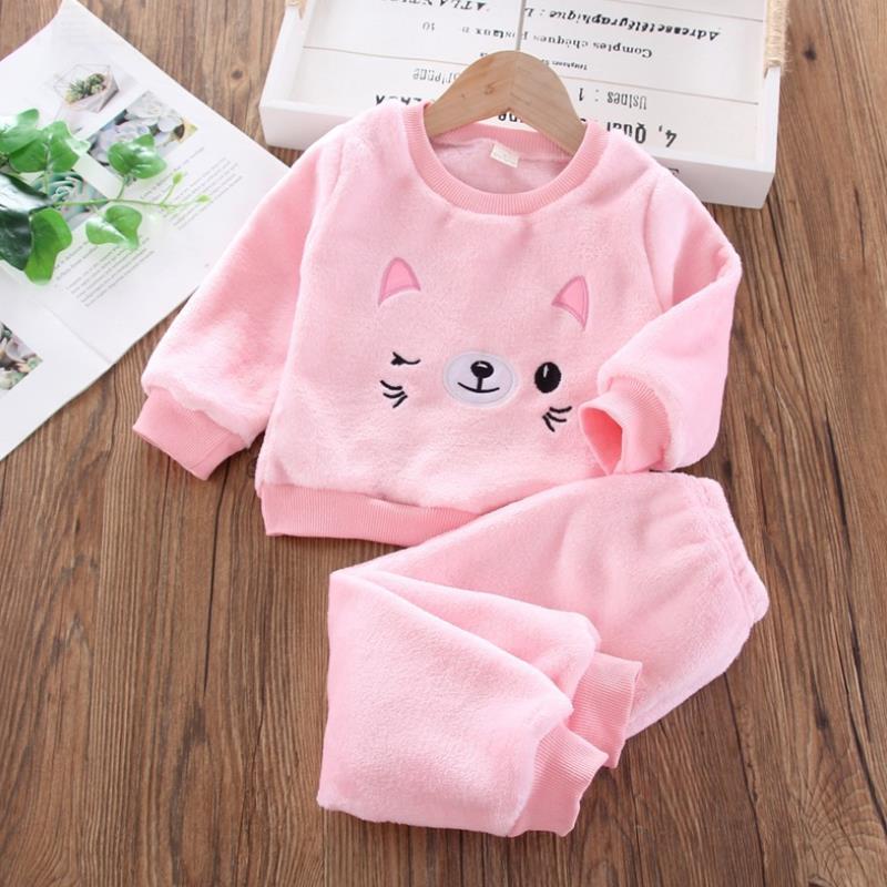 New Kids Flannel Pajama Sets Winter Christmas Pyjamas For Children Thick Warm Cartoon Sleepwear Girls Boy Casual Home Suit1-6Y 5