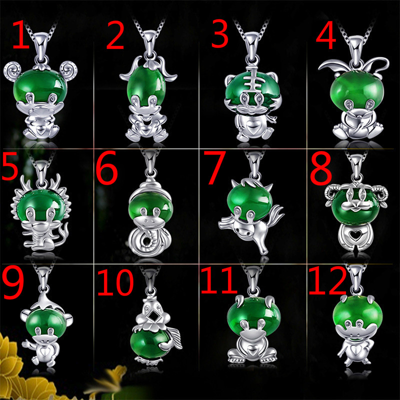 Natural Green Jade Zodiac Animal Pendant Necklace 925 Silver Jadeite Chalcedony Amulet Fashion Charm Jewelry Gifts For Women Her