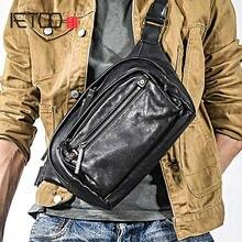 Кожаная мужская сумка на одно плечо aetoo повседневная нагрудная