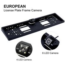Car License Plate Frame Waterproof Night Vision LED Backup Camera Reverse Rear View Camera 4/8 LED Light Universal цена