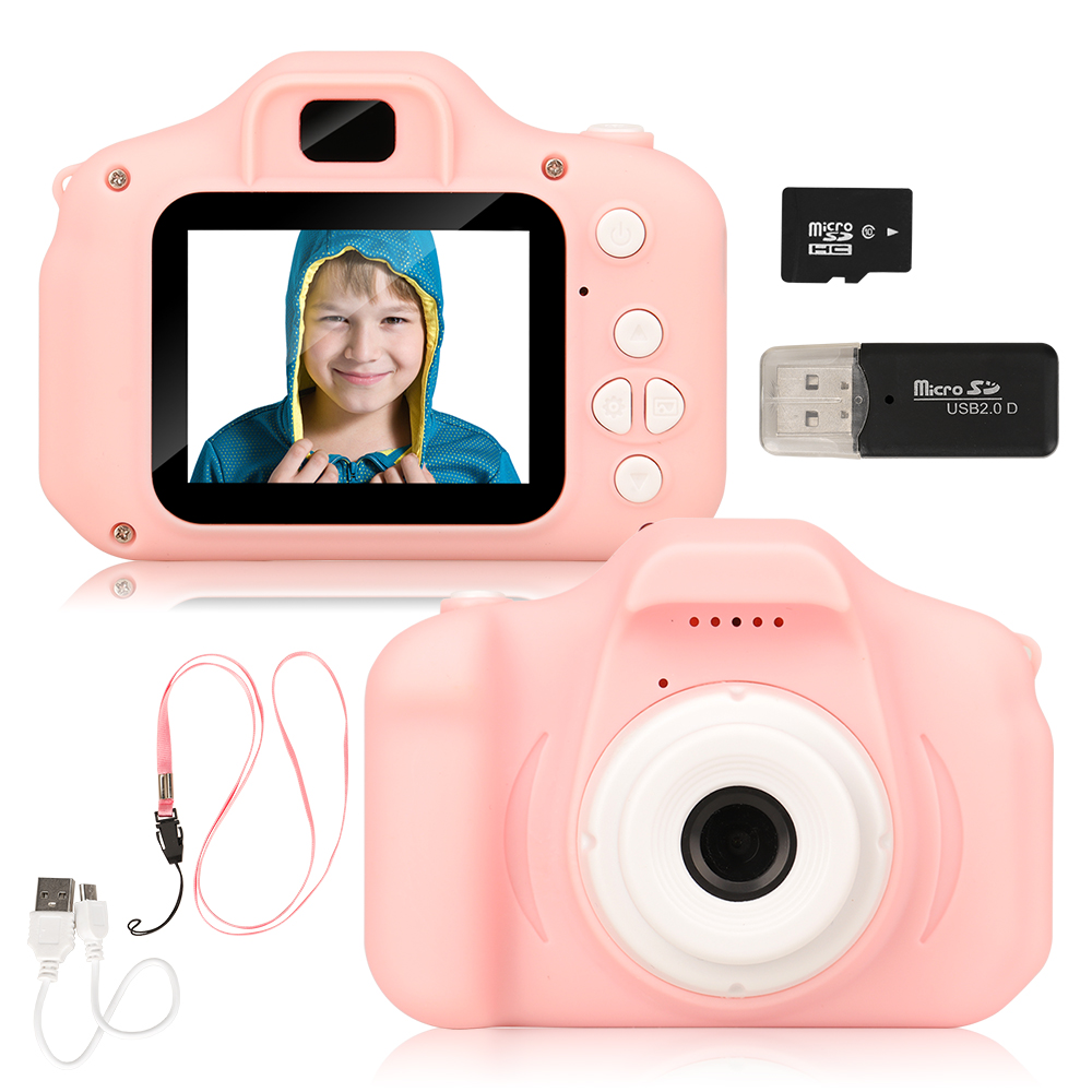 New Arrive Hot Sale Mini Children's Camera Rechargeable Pink Photo Video Playback 32 GB Kids Toys Child Girl Birthday Present