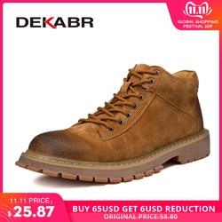 Dekabr novos homens botas de couro moda outono inverno topo marca ankle boots rendas sapatos masculinos calçados casuais botas transporte da gota