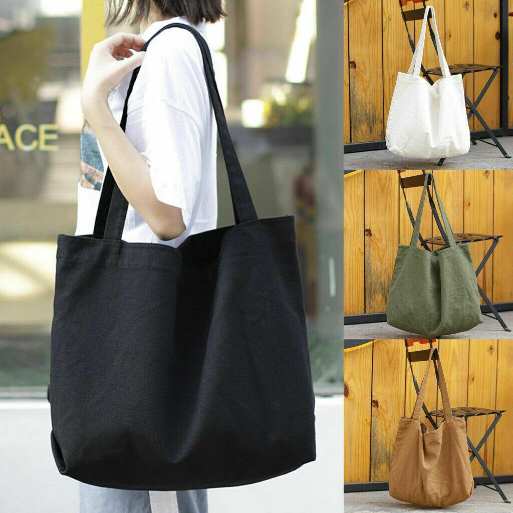 NEW 2020 Women Canvas Shopping Bag Large Tote Bag Shopper Satchel Large Beach Shoulder Handbag
