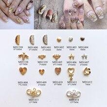 50 шт./пакет Металлизированное украшение для ногтей 3D амулеты полукруг пчела сердце лук украшение для ногтей