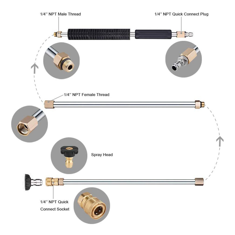 Tools : Pressure Washer Extension Wand Set - Upgrade Power Washer Lance with Spray Nozzle TipsCurved Rod 1 4 Inch Quick Connect Repla