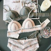 Cup triangle wire free sexy sleepwear retro embroidery contrast color women bra and panty set lace thin cup underwear lingerie