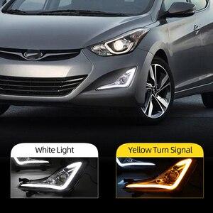 Image 2 - Carro piscando led drl daytime running luz luz de condução luz nevoeiro quadro da lâmpada luz nevoeiro para hyundai elantra avante 2014 2015