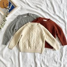 Moda dla dzieci swetry swetry solidna dzianina dla dzieci dziewczyny chłopcy dzianiny topy jesień zima noworodka Bebes ubrania 1 4Y z długim rękawem