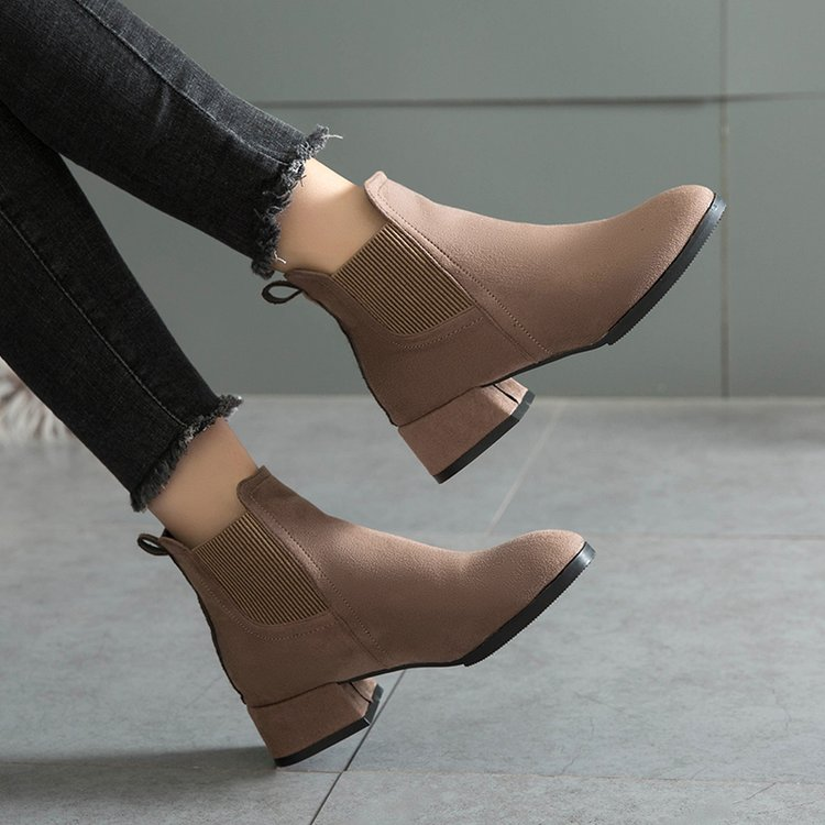 Dropshipping Winter Women Camel Black <font><b>Ankle</b></font> <font><b>Boots</b></font> Heel Shoes Bota Feminina