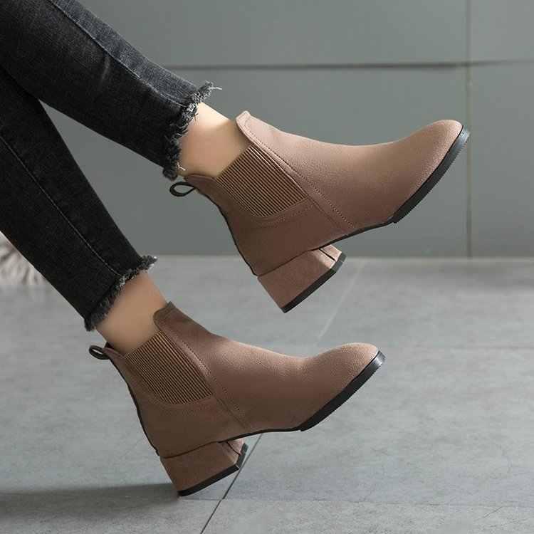 Dropshipping Sonbahar Kış Çizmeler Kadın Deve Siyah yarım çizmeler Kadınlar için Kalın Topuk Bayanlar üzerinde Kayma Ayakkabı Botları Bota Feminina