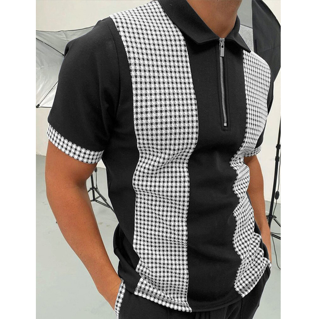 2021 Summer New Twill Men Polo Shirt Short Sleeve Oversized Loose Zipper Color Matching Clothes Luxury Male Tee Shirts Trip 4