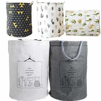 Folding Laundry Basket Japanese Toy Large Storage Baskets Bin For Kids Toys Cactus Clothes Organizer Geometric Laundry Bucket
