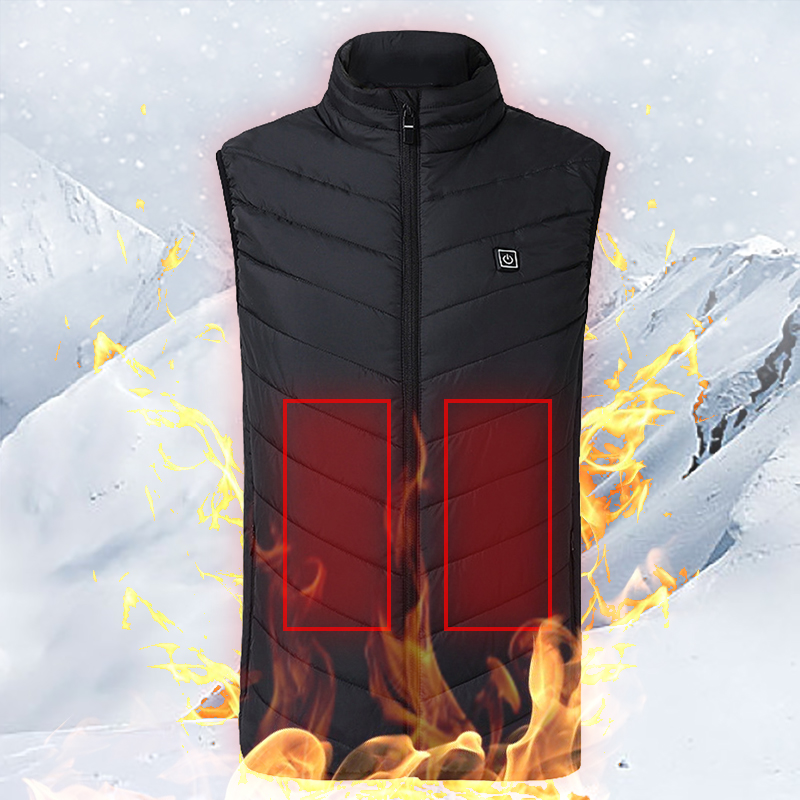 Outdoor USB Infrared Heating Vest Jacket Winter Flexible Electric Thermal Clothing Waistcoat For Men Sports Hiking Fishing