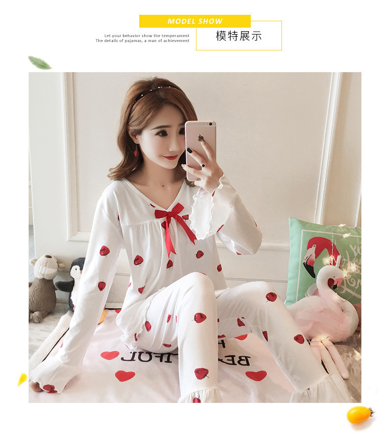 Autumn Women Cotton Pajamas Sets 2 Pcs Cartoon Printing Pijama Pyjamas Long Sleeve Bowknot Pyjama Sleepwear Sleep Set 49