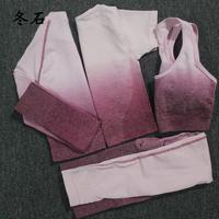 4PCS Yoga Set Ombre Seamless Leggings Sport Bra Long Sleeve+Short Sleeve Crop Top Women Running Gym Clothing Fitness Sports Suit