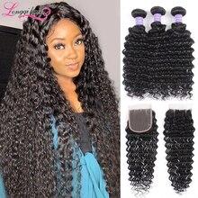 Волнистые волосы Longqi, пряди с застежкой, бразильские волосы Remy, натуральные человеческие волосы, пряди с застежкой