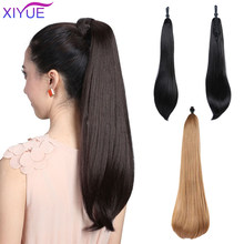 Hair Long Straight Claw On Hair Extensions Claw Pony Tail Synthetic Hairpiece Heat Resistant Ponytail Hair Straight Ponytail(China)