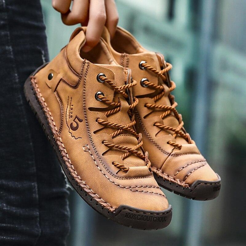 ZUNYU Homens Sapatos Casuais Estilo Britânico Sapatos de Couro Confortáveis Homens Moda Homem Andando Sapatos Tamanho Grande Marrom Preto Macio Calçado Plana 3